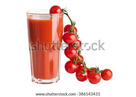 Cherry tomato branch and glass of juice isolated on white background