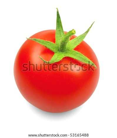 Cherry tomato isolated on white - stock photo