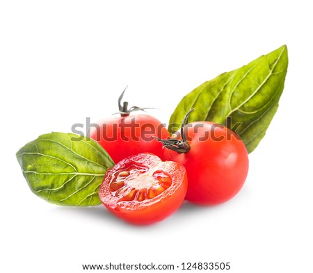 Cherry tomatoes and basil leaves isolated on white - stock photo