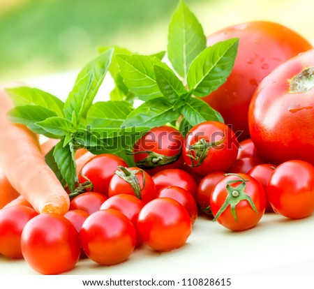Cherry tomatoes and tomatoes - stock photo