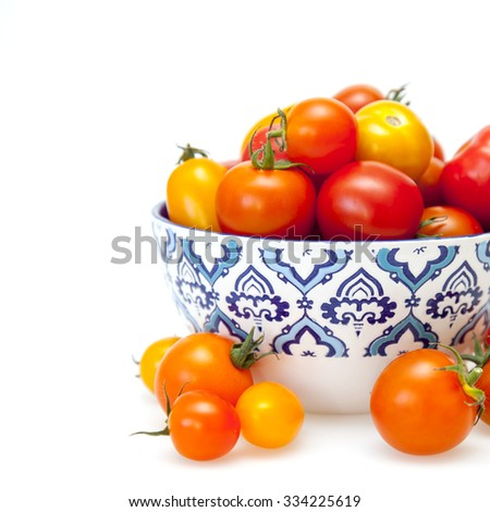 Cherry tomatoes in a figured bowl