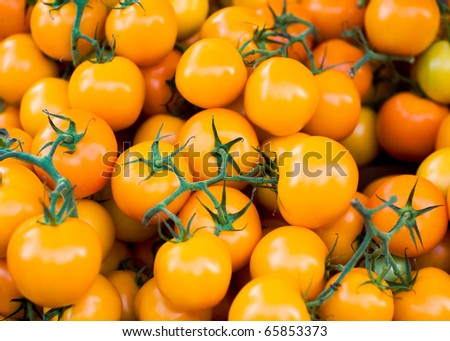 Cherry tomatoes in a pile for sale at a farmers market. - stock photo