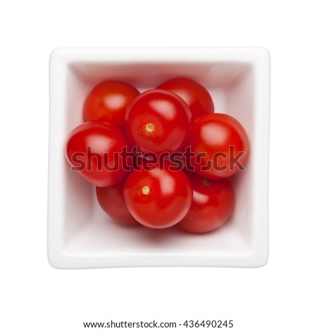 Cherry tomatoes in a square bowl isolated on white background - stock photo