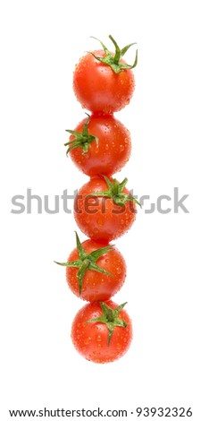 cherry tomatoes in water droplets isolated on a white background - stock photo