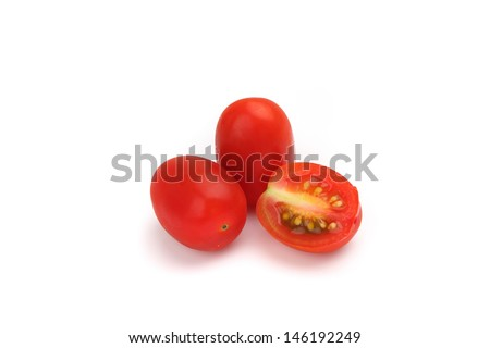 Cherry tomatoes isolated in white background - stock photo