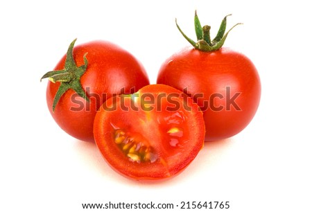 Cherry tomatoes, isolated on white - stock photo
