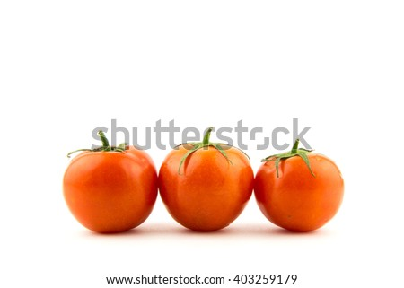 Cherry tomatoes line up! Red tomato isolated on white background / Tomato branch / seamless perfect close-up studio clipping object / market fresh natural diet food - stock photo