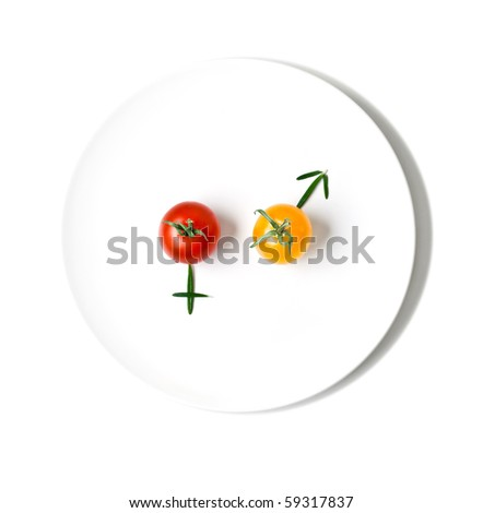 cherry tomatoes making symbols of a man and a woman - stock photo