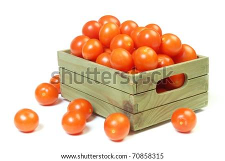 Cherry Tomatoes  on White Background - stock photo