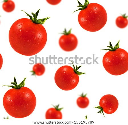 Cherry Tomatoes seamless texture. Tomatoes with water drops isolated on white background. Ripe red mini tomato. - stock photo