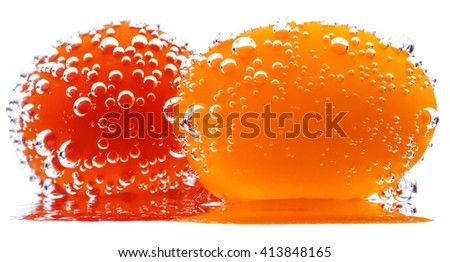 Cherry Tomatoes with gas bubbles. Isolated on a white background.  - stock photo