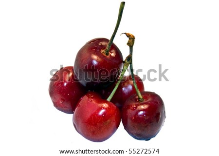 Cherry with drops of water (isolated on a white)