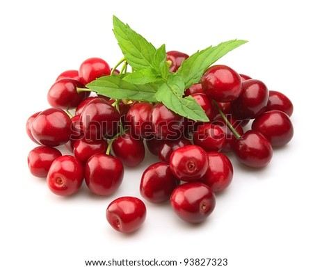 Cherry with fresh mint on white
