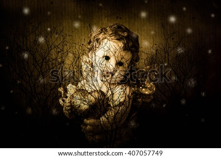 Cherub angel statue with heart,Double exposure cherub angel with dry tree,Love concept - stock photo