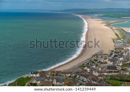 Chesil Beach on the Jurassic coast - stock photo