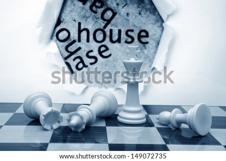 Chess and house concept - stock photo