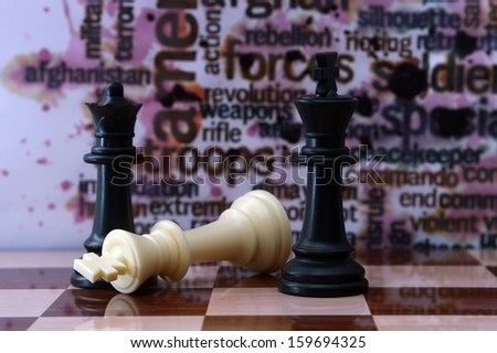 Chess and military concept - stock photo