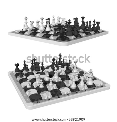 Chess and oval shaped chess fields, two views - stock photo