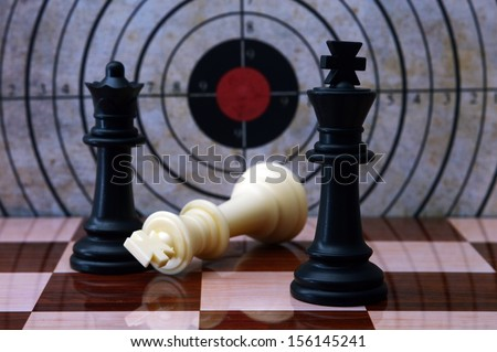 Chess and target concept - stock photo