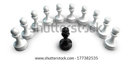Chess background central figure - black pawn. isolated on white background.  High resolution 3d  - stock photo