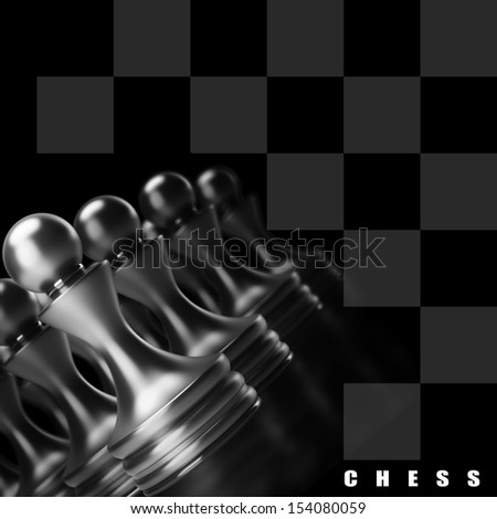 Chess background central figure-pawn 3d illustration. high resolution  - stock photo