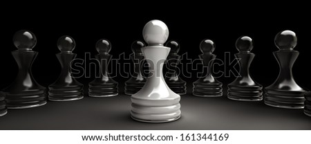 Chess background central figure - white pawn 3d illustration. high resolution  - stock photo