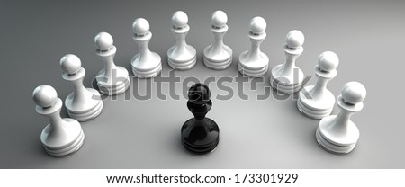 Chess background central figure - white pawn  High resolution 3d  - stock photo