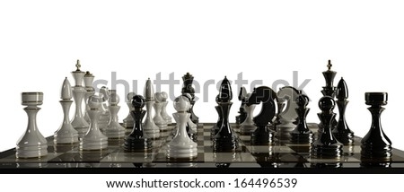 Chess background - checkmate isolated on white background High resolution 3d  - stock photo
