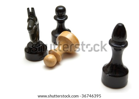 Chess battle isolated on a white background - stock photo