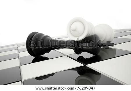 chess black and white - stock photo