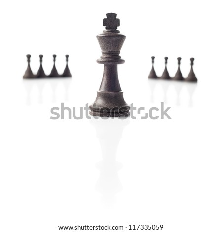 Chess. Black king, eight pawns out of focus and their shadows on white background. Power, competition or leadership concept.