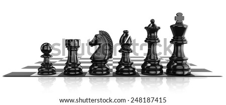 Chess black pieces, standing on board. Isolated on white background