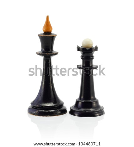 Chess black vintage King Queen - stock photo