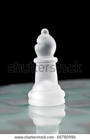 "Chess Board and ""Bishop"" Piece - stock photo"