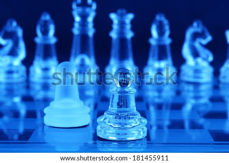 Chess board and chess pieces  - stock photo