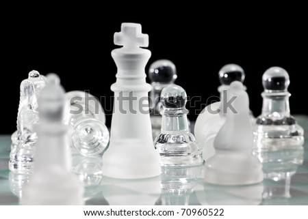 Chess Board and Pieces - stock photo