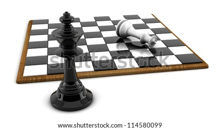 Chess board and pieces in 3d on white background - stock photo
