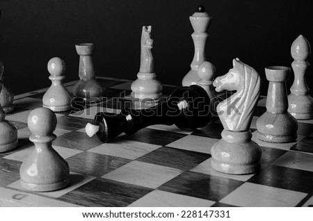 Chess board black & white  - stock photo