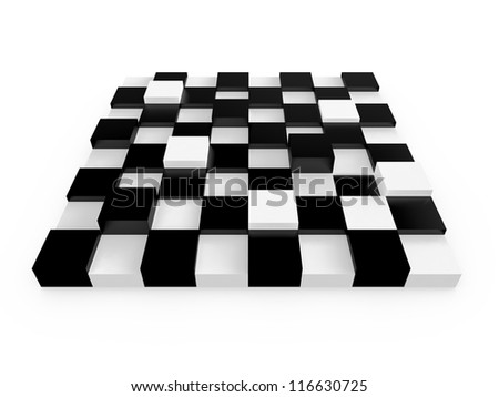Chess board cells with different sizes, heights, isolated on white background. - stock photo