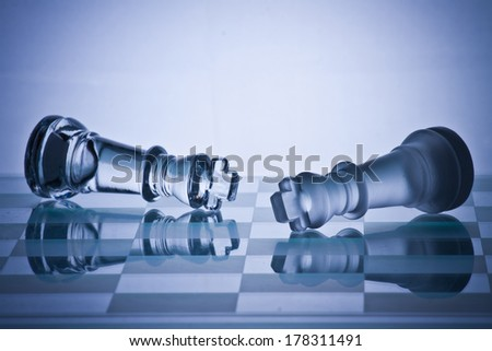 Chess board game represents business or political move - stock photo