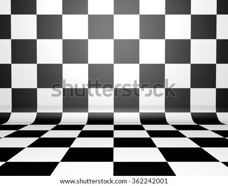 Chess board illustration tiled background with black and white pattern. - stock photo