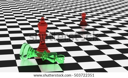 Chess board in black and white with two kings in red an green glass with a shield and a hacker symbol on top cyber defense looses concept 3D illustration