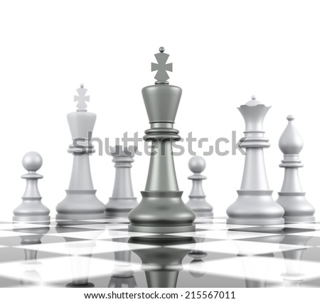 Chess Board. Isolated on white background. Three Dimensional Rendering - stock photo