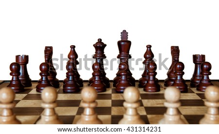 Chess board looking over the top of your pawns