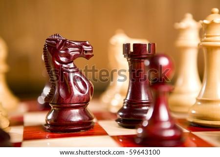 chess board selective focus Studio Shot - stock photo