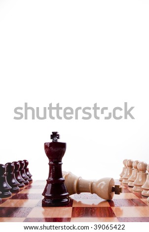 Chess board white and black battle - stock photo