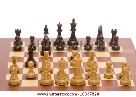 Chess board with a full set of chess pieces. A clipping path is included for easy extraction. - stock photo