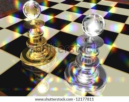 Chess-Board with a golden and silver chess-figure and lens flare.