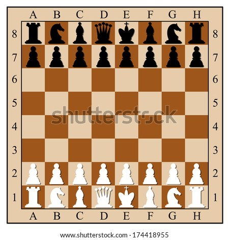 Chess board with chess pieces.  illustration. - stock photo