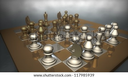 chess board with figures - stock photo